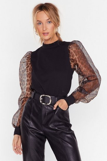 Black Be Wild There Organza Sleeve Leopard Top