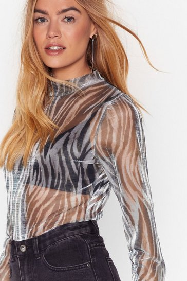 Grey Settle For Nothing Mesh Animal High Neck Top