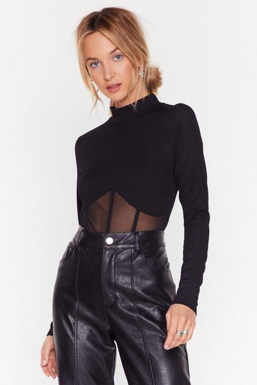 Black Of Corset High Neck Mesh Top