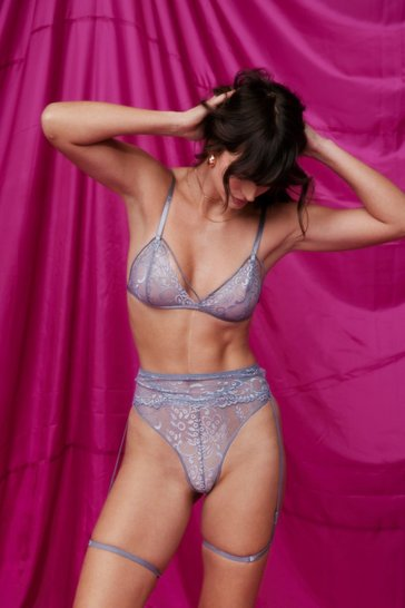 Dusty blue Lace Talk About You and Me Lace-Up 3-Pc Set