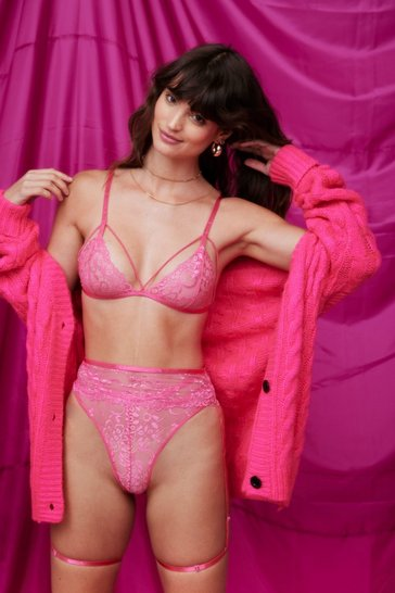 Pink Lace Talk About You and Me Lace-Up 3-Pc Lingerie Set