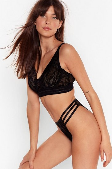 Black At Lace You're Here Bralette and Panty Set