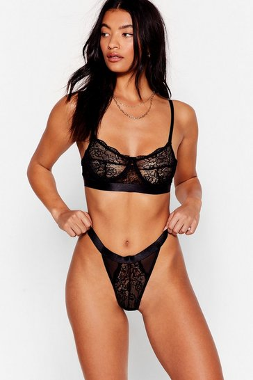Black Strong Attraction Lace Bralette and Panty Set