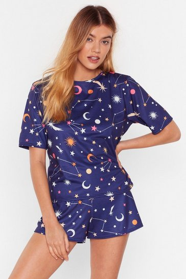 Navy Zoned Out Star Short Pyjama Set