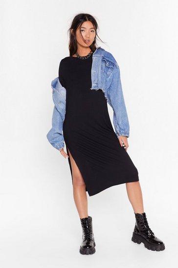 Black Fuck This Slit Tee Midi Dress