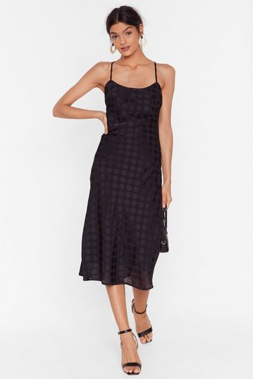 Black Dot to Dance Jacquard Midi Dress