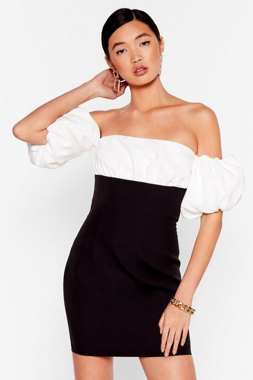 Black Show Off-the-Shoulder Puff Sleeve Mini Dress