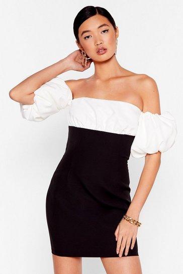 Black Show Off-the-Shoulder Puff Sleeve Mini Dress