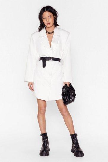 White Blazer Mini Dress with Plunging V-Neckline
