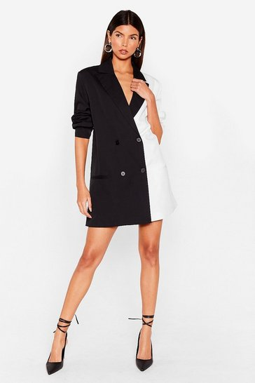 Half and Half Two-Tone Blazer Dress, Black