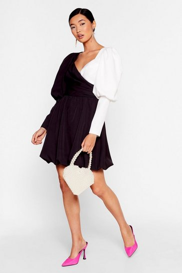 Struttin' Our Puff Sleeve Wrap Dress, Black