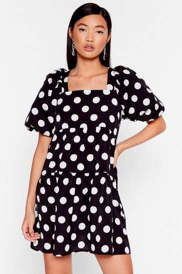 Black The Night's Dot Over Yet Puff Sleeve Mini Dress