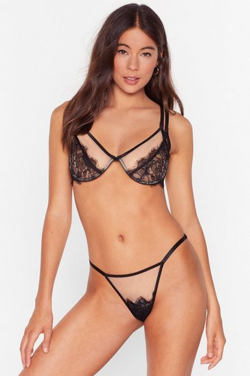 Black Bare Necessities Lace Bralette and Knickers Set