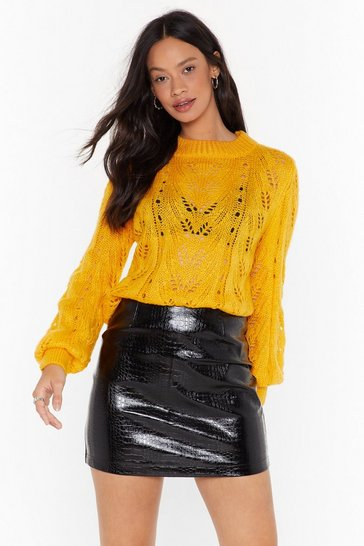 Yellow You've Got a Pointelle Relaxed Sweater