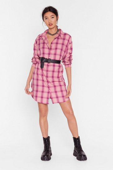 Pale pink Shirt Case Scenario Check Dress