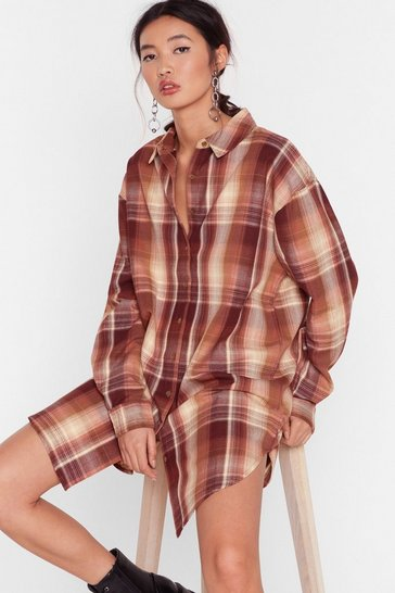 Brown Meet Me At the Check Out Oversized Shirt