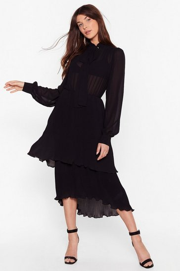 Black Shed a Tier Pleated Midi Dress