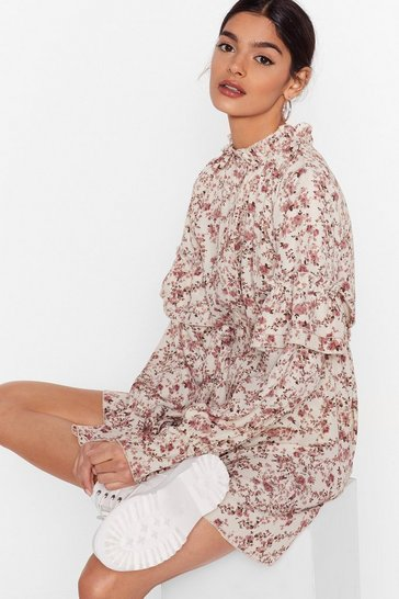 Cream Floral Tiered Long Sleeve Mini Dress