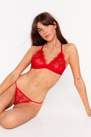 Red Hand On Your Heart Lace Bralette and Thong Set