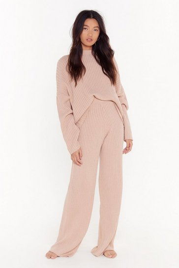 Nude Take Knit Off Sweater and Pants Lounge Set