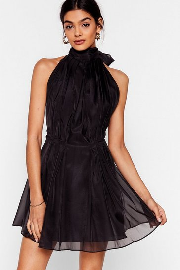 Black Put a Bow on It Halter Mini Dress