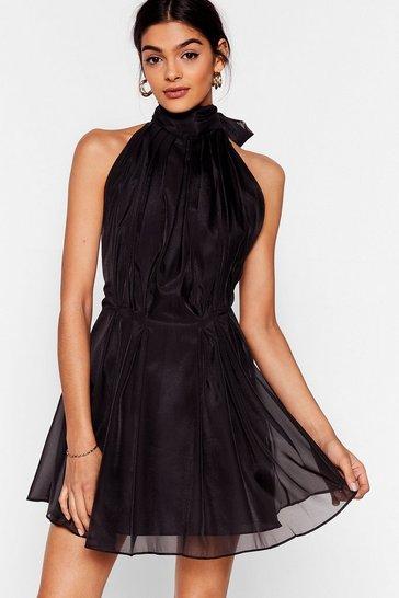 Black Put a Bow on It Halter Mini Dress