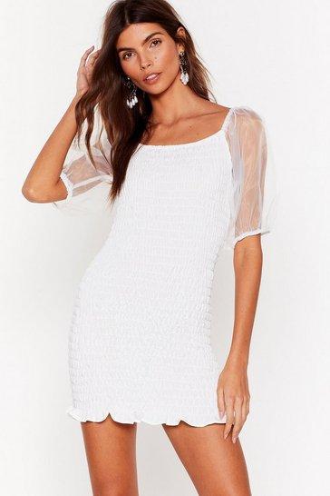 White Have You Shirred the News Organza Mini Dress