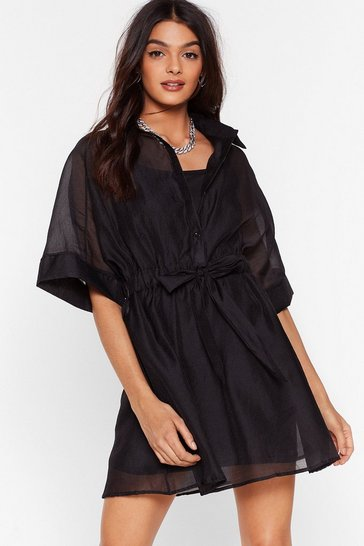 Black Here We Bow Organza Mini Dress