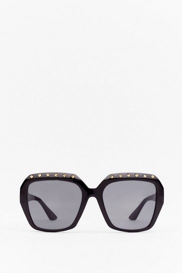 Black See It in Your Eyes Stud Square Sunglasses