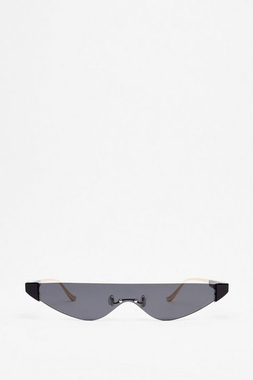 Black The '80s Called Framless Slim Sunglasses