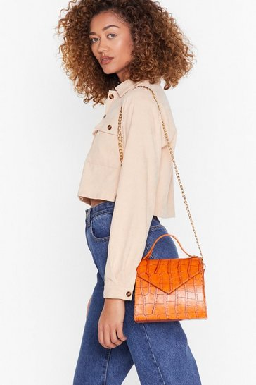 Orange WANT Croc in Structured Crossbody Bag