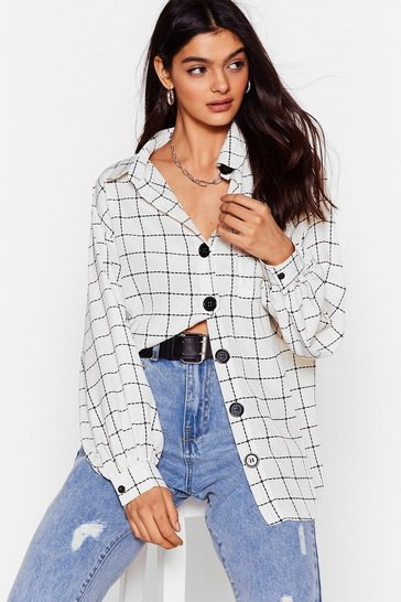 White Gridlock Check Oversized Shirt