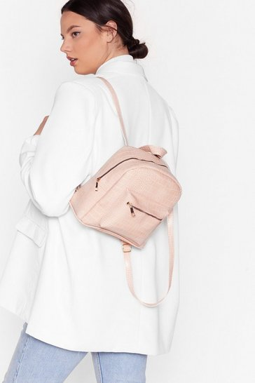 Pink WANT Don't Ever Croc Faux Leather Backpack