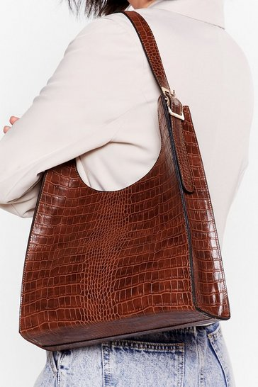 Brown WANT Implement Structure Croc Tote Bag