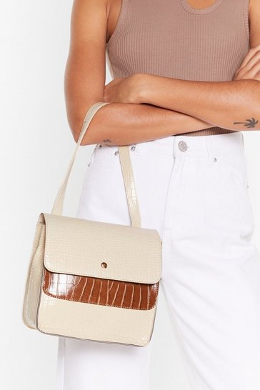 Beige Faux Leather Purse with Top Handle Strap