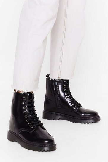Womens Black High Shine Lace Up Biker Boots