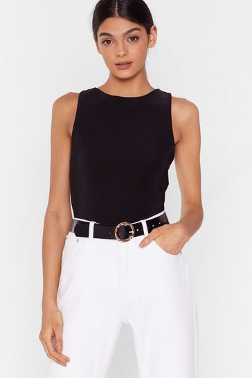 Black Running in Circles Faux Leather Buckle Belt