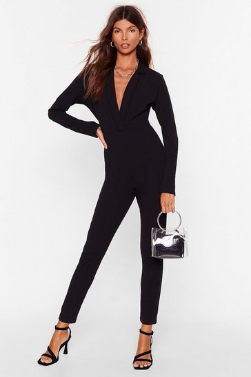 Black V Where Things Go Tailored Jumpsuit