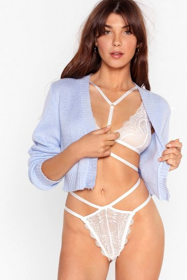 Cream In Lace You Weren't Aware Bralette and Thong Set