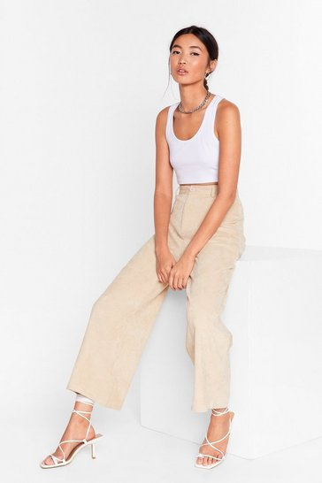 Ecru Take 'Em High Corduroy Wide-Leg Pants