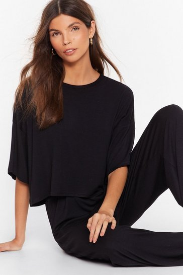 Black Chill Next Time Tee and Wide-Leg Pants Set