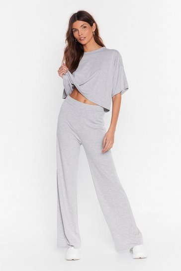 Grey marl Chill Next Time Tee and Wide-Leg Pants Set