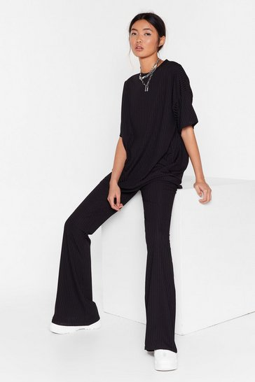 Black Together Again Oversized Tee and Flare Pants Set