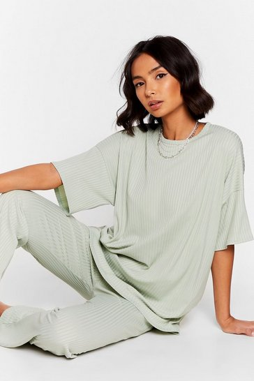 Sage Together Again Oversized Tee and Pants Set