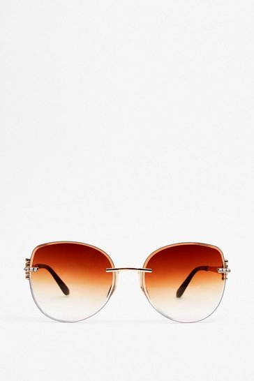 Gold See You Around Tinted Round Sunglasses
