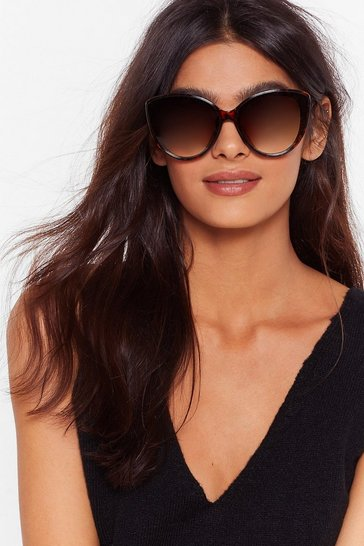 Brown Rounded Tort Cat Eye Sunglasses