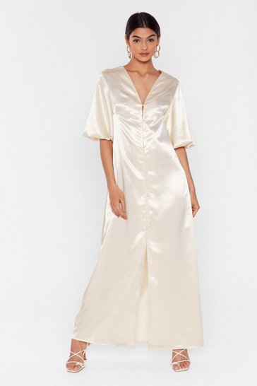 Ivory Satin Maxi Dress with Slit at Front