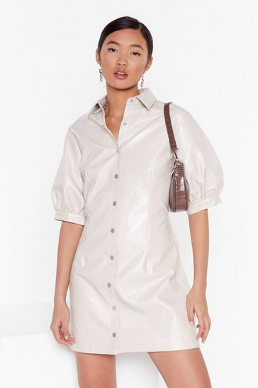 Off white You're Vinyl Warning Button-Down Shirt Dress