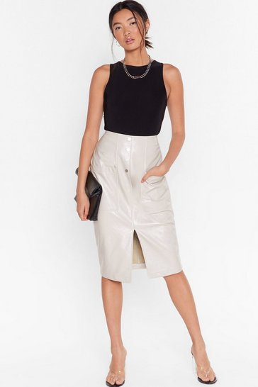 Off white Better on Vinyl Midi Skirt