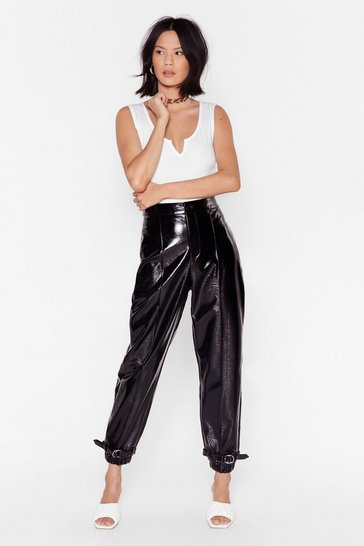 Black Feeling Vinyl High-Waisted Buckle Pants
